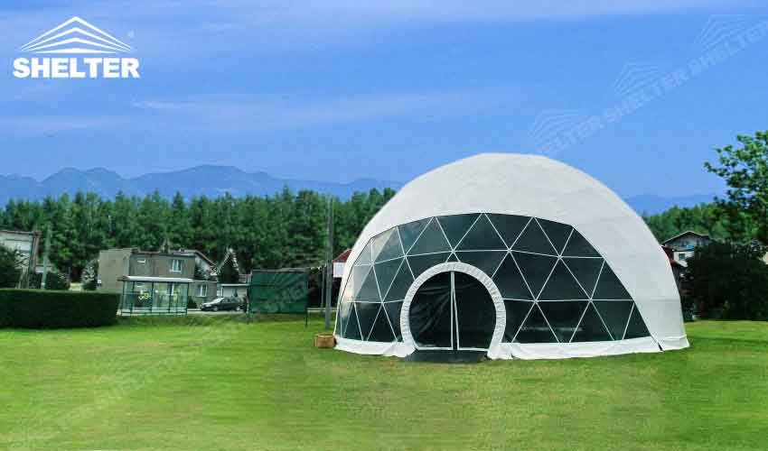 half clear transparent geodesic dome -Shelter geodesic dome tent for sale-10m-20m dome 3